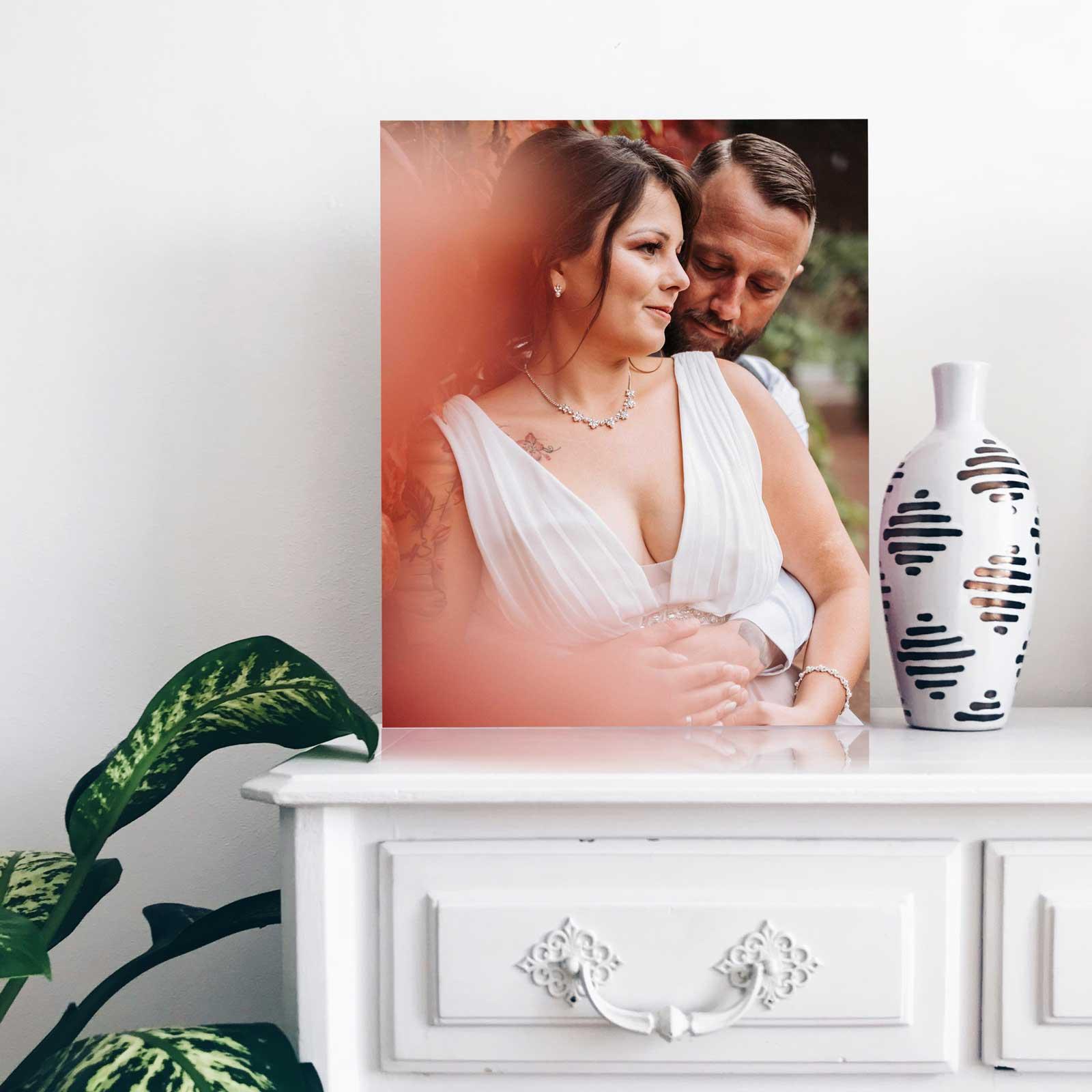 Hochzeitsfoto von Brautpaar ausgedruckt